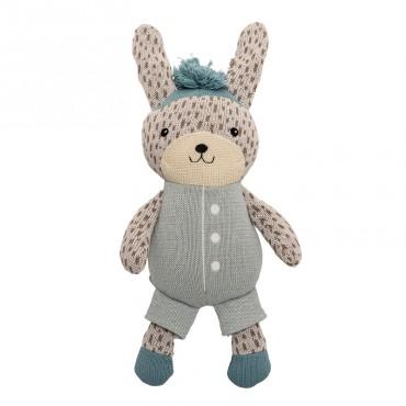 Doudou tricoté Lapin (bleu/blanc)