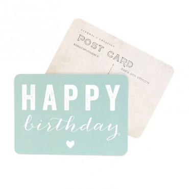 Carte Happy Birthday (Coeur) - Vert menthe