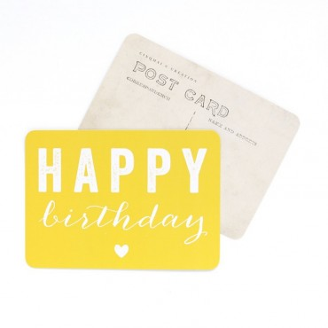 Carte Happy Birthday (Coeur) - Citron