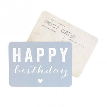 Carte Happy Birthday (Coeur) - Gris bleu