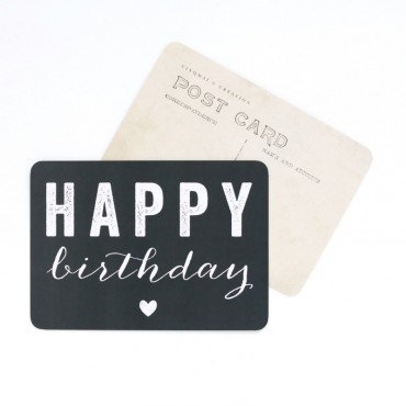 Carte Happy Birthday (Coeur) - Ardoise