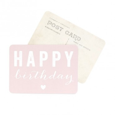 Carte Happy Birthday (Coeur) - Rose poudre
