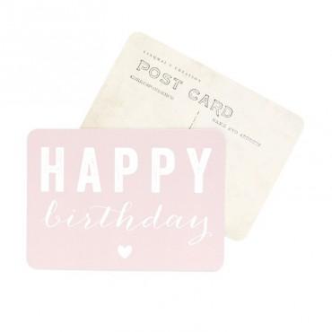 Carte Happy Birthday (Coeur) - Rose poudre