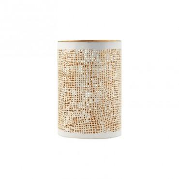 Photophore Hessian - White/Gold (Petit modèle)