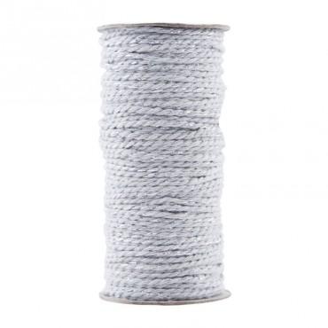 Bobine de ficelle tressée twine - Grey/Silver (20 mètres)