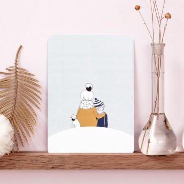 Carte postale Sous la neige (garçon)