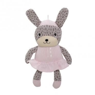Doudou tricoté Lapin (rose/blanc)