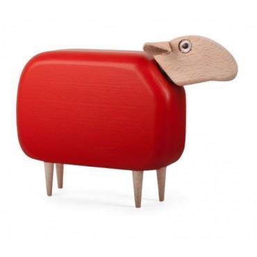 Mouton en bois (tête droite) - Rouge (GM)