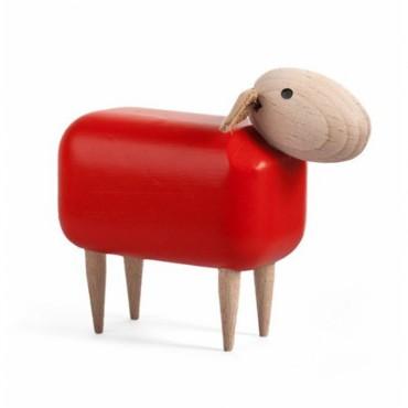 Mouton en bois (tête droite) - Rouge (PM)