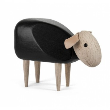 Mouton en bois (tête baissée) - Noir (PM)