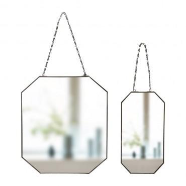 Miroir octogonal avec chaine - Black