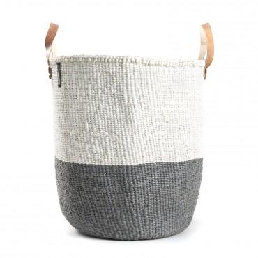 Panier Kiondo avec anse en cuir - 50/50 White & Grey