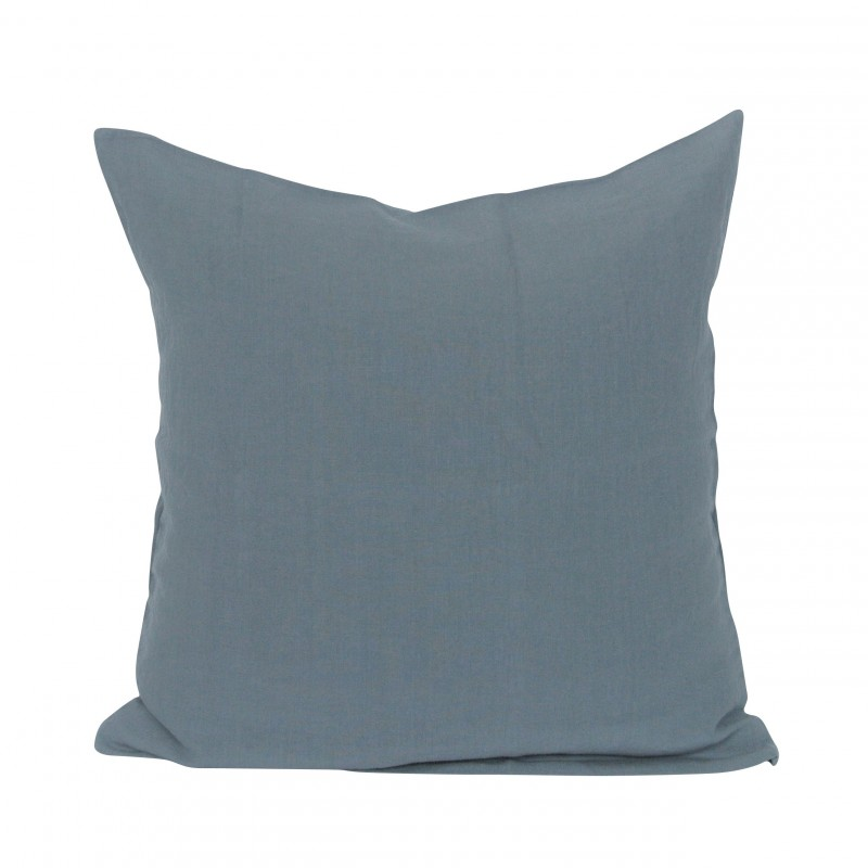 housse de coussin gris bleu 50x50 cm linge particulier perlin paon paon. Black Bedroom Furniture Sets. Home Design Ideas