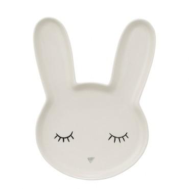 Assiette lapin blanche