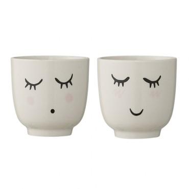 Tasse en porcelaine visage - blanc