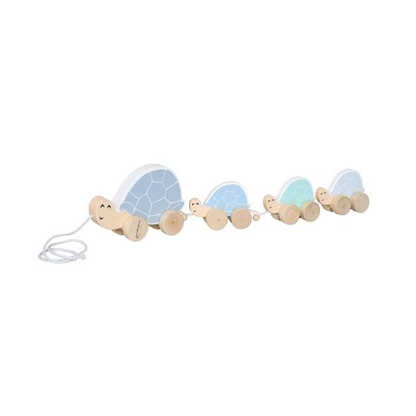 Jouet à tirer - Famille tortue (bleu)