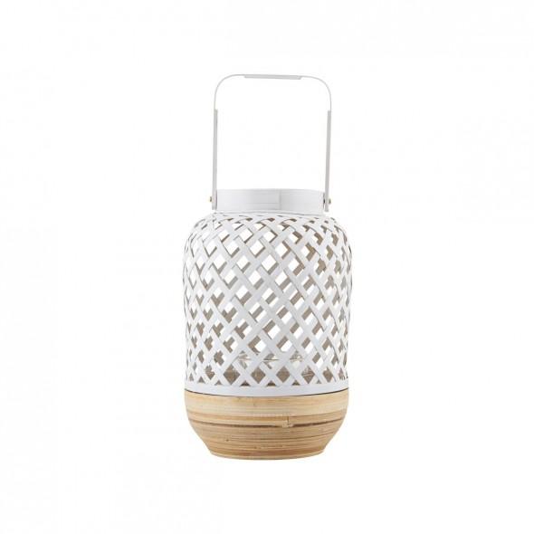 Lanterne bambou - Blanc et naturel