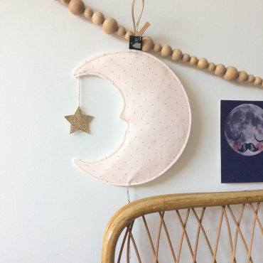Veilleuse Lune profil - Rose