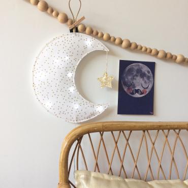 Veilleuse Lune croissant - Blanc / or