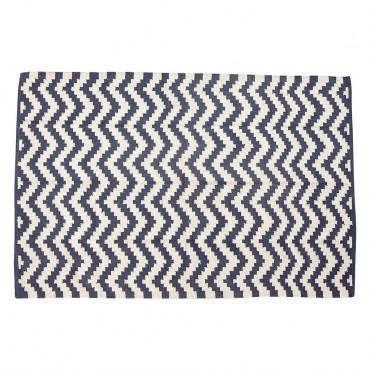 Tapis graphique Zigzag - Bleu / Blanc