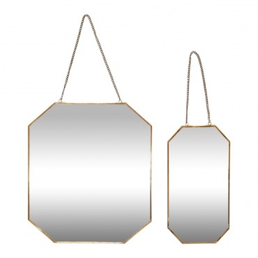 Miroir octogonal avec chaine - Laiton
