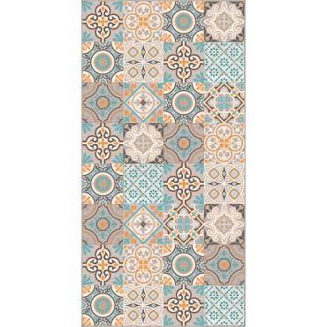 Tapis vinyle Fresc - Beige, orange, bleu clair