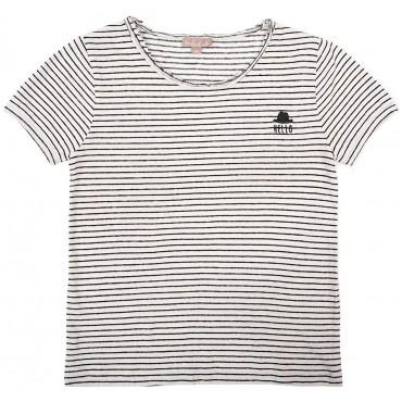 T-shirt rayures - Blanc / noir
