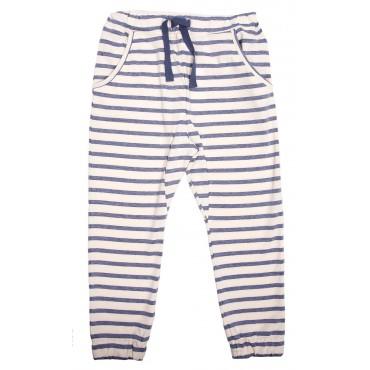 Pantalon molleton rayures - Bleu / blanc