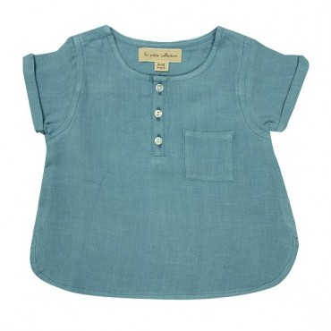 Blouse bébé manches courtes - Bleu horizon