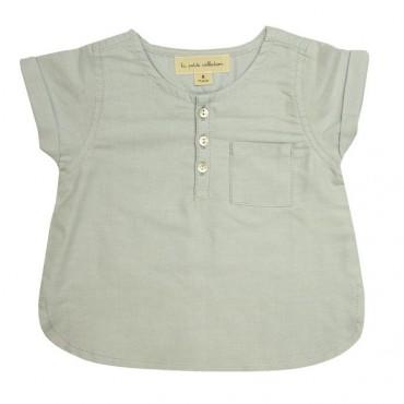 Blouse bébé manches courtes - Oxford gris