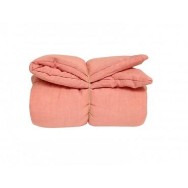 Edredon bébé en lin - Rose blush