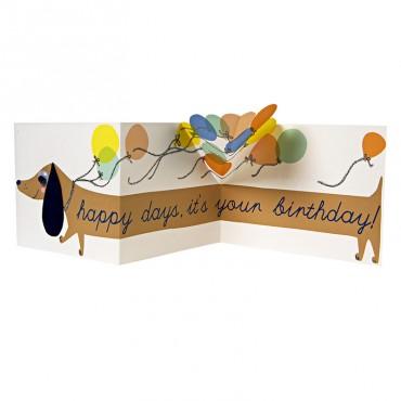 Carte anniversaire - Chien saucisse