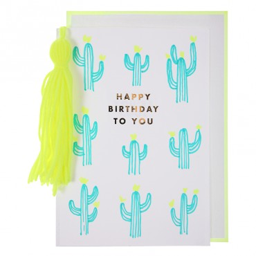 Carte anniversaire - Cactus et pompon