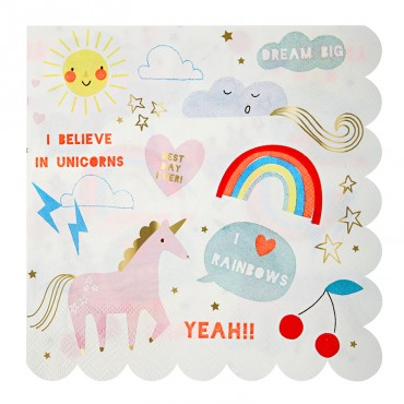 20 serviettes en papier - Licornes et arc-en-ciel