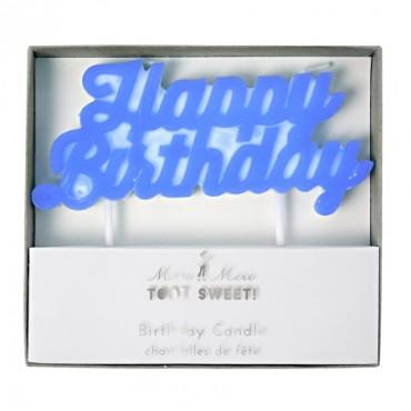Bougie d'anniversaire - Happy birthday bleu