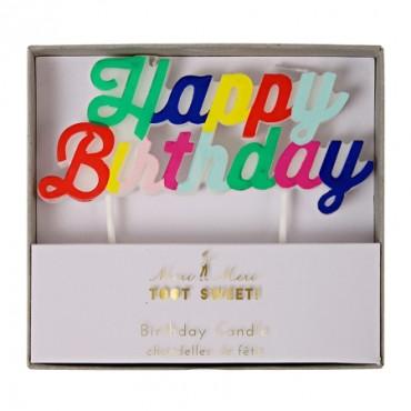 Bougie d'anniversaire - Happy birthday multicolore