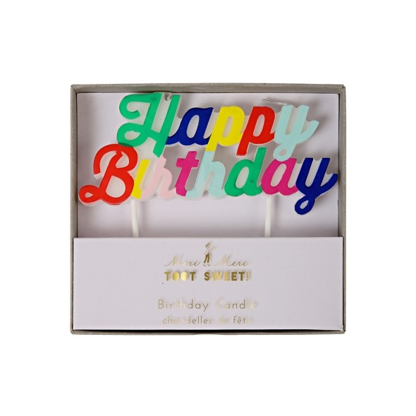 Bougie d'anniversaire - Happy birthday multicolore
