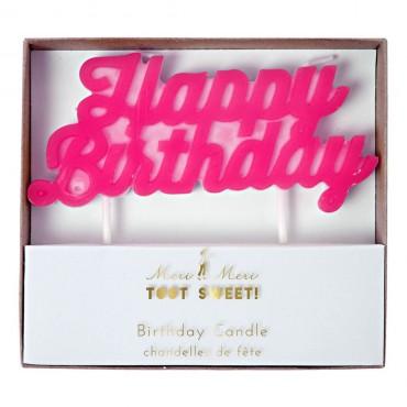 Bougie d'anniversaire - Happy birthday rose