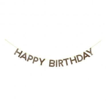 Guirlande pailletée - Happy birthday dorée