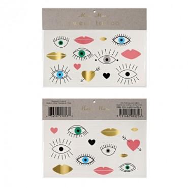 2 tatouages éphémères - Eyes lips