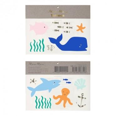 2 planches de tatouages éphémères - Sous la mer