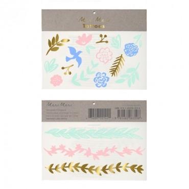 2 planches de tatouages éphémères - Feuilles pastel
