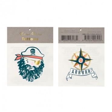 2 planches de tatouages éphémères - Pirates