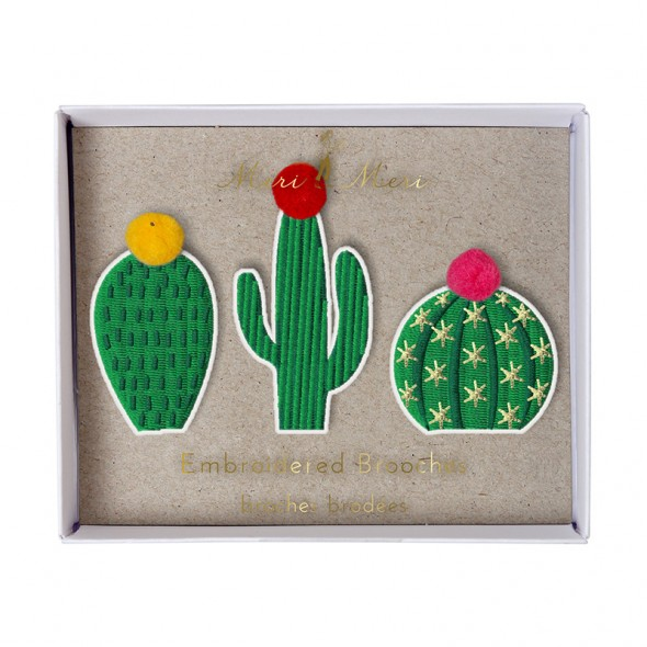 Set de 3 broches brodées  - Cactus