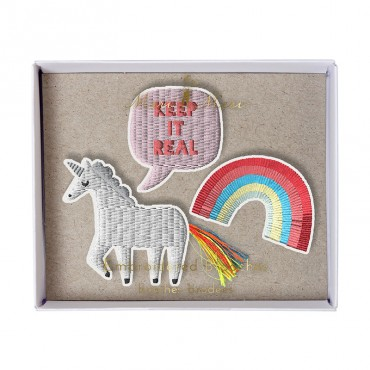 Set de 3 broches brodées  - Licorne