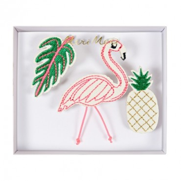 Set de 3 broches brodées  - Tropical