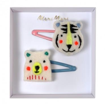 2 barrettes - Ours et tigre