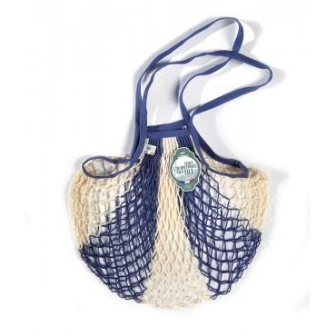 Grand filet à provision - Bleu jean et blanc/Anses bleu
