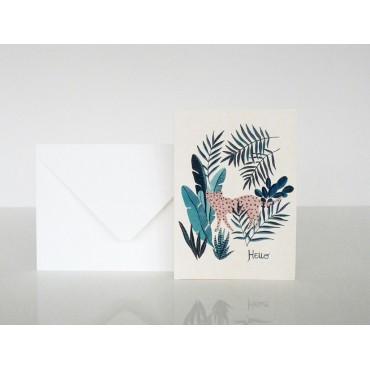 Carte postale Hello - Léopard