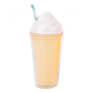 Gobelet à emporter avec paille - Ice cream blanc